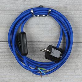 Textilkabel Anschlussleitung 2-5m dunkel-blau mit Schalter u. Schutzkontakt Winkelstecker