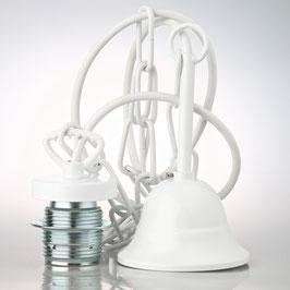 E27 Lampen Kettenpendel weiß lackiert 1m lang mit Metall Baldachin Tulpenform