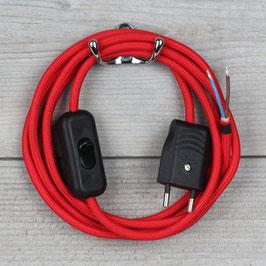 Textilkabel Anschlussleitung 2-5m rot mit Schalter und Euro-Flachstecker