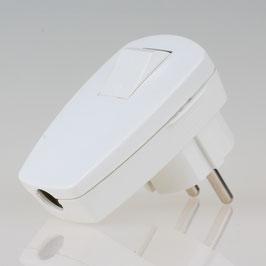Schutzkontakt Winkelstecker weiss mit Wippschalter 250V/16A Kopp