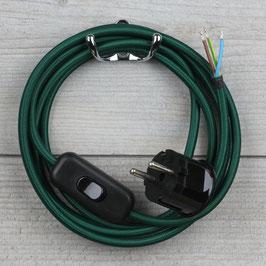 Textilkabel Anschlussleitung 2-5m dunkel-grün mit Schalter u. Schutzkontakt Winkelstecker