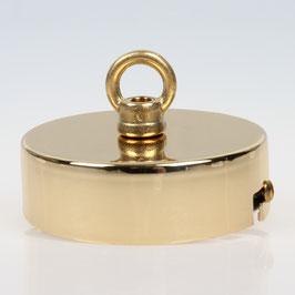 Lampen Baldachin 80x25 Metall Messing poliert mit Ringnippel 22mm fuer Kettenaufhaengung