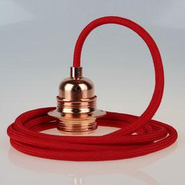 Textilkabel Pendelleitung rot E27 Fassung Metall Kupfer und 2 Schraubringe