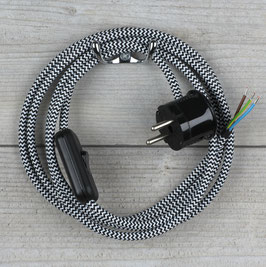 Textilkabel Anschlussleitung 2-5m schwarz-weiß zick-zack mit Schalter u. Schutzkontakt Winkelstecker