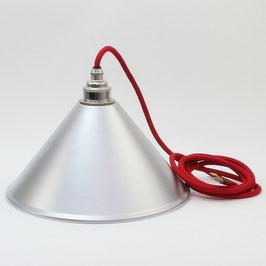 Lampenschirm silber Textilkabel Leuchtenpendel mit E27 Vintage Metallfassung Nickel matt