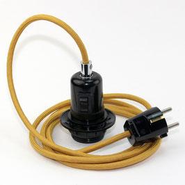 Textilkabel Pendel mit E27 Bakelit Vintage Fassung Teilgewindemantel mit Schalter schwarz und Schutzkontakt-Stecker