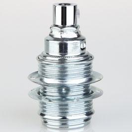 E14 Premium Metallfassung verchromt mit Außengewinde Schraubringe Zugentlaster