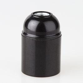 E27 Bakelit Fassung schwarz ohne Außengewinde / Glattmantel M10x1