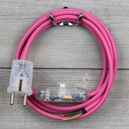 Textilkabel Anschlussleitung 2-5m pink mit Schalter u. Schutzkontakt Winkelstecker