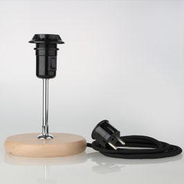 Lampen Holzsockel, E27 Vintage Fassung mit Teilgewindemantel und Schalter