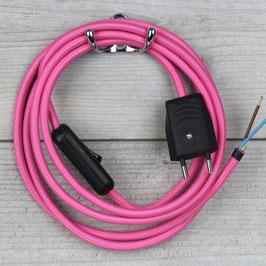 Textilkabel Anschlussleitung 2-5m pink mit Schalter und Euro-Flachstecker
