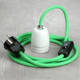 Textilkabel Leuchtenpendel E27 Porzellan Fassung mit Schalter und Schutzkontakt-Stecker