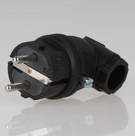 PCE Gummi Schutzkontakt-Winkelstecker schwarz mit Polyamideinsatz Taurus IP44