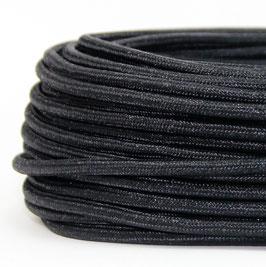 Textilkabel Stoffkabel schwarz metallic 3-adrig 3x0,75 Gummischlauchleitung 3G 0,75 H03VV-F textilummantelt