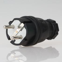 PCE Gummi Schutzkontakt-Stecker schwarz mit Polyamideinsatz Taurus IP44