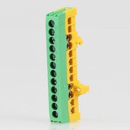 Schutzleiter-Klemme Verteilerklemme grün 12-polig für Hutschiene