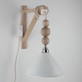 Textilkabel Galgen-Lampe mit Holzkugeln Buche Natur E27 Vintage Fassung Lampenschirm weiß