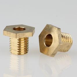 6 Kant Trompeten-Nippel 12x10 Messing M8x1x8 mit Verdrehschutz