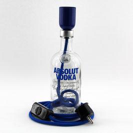 Flaschenlampe Textilkabel dunkelblau mit E27 Fassung Schnurschalter und Stecker