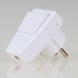 Schutzkontakt Winkelstecker reinweiss mit Wippschalter 250V/10A