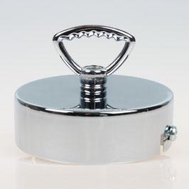 Lampen Baldachin 80x25 Metall verchromt mit Zahn-Ringnippel 42mm fuer Kettenaufhaengung