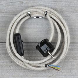 Textilkabel Anschlussleitung 2-5m kiesel mit Schalter u. Schutzkontakt Winkelstecker