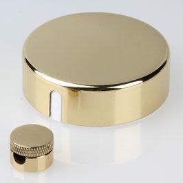 Lampen Abzweig Baldachin 72x22 Metall Messing poliert mit Zierkappe und Distanz-Aufhänger