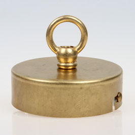 Lampen Baldachin 80x25 Metall Messing roh mit Ringnippel 30mm fuer Kettenaufhaengung