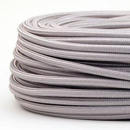 Textilkabel Stoffkabel silber 3-adrig 3x0,75 Schlauchleitung 3G 0,75 H03VV-F