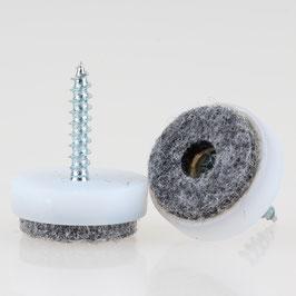 Filzgleiter 20 mm Kunststoff weiß mit Schraube für Holzstühle