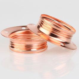 2x E27 Unterring Schraubring Metall verkupfert 60x25 mm für Metallfassung