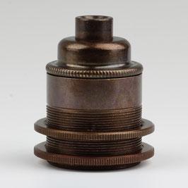 E27 Vintage Lampenfassung Metall Antik fume 2 Schraubringe ohne Zugentlaster