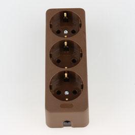 Kaiser Tischsteckdose Steckdosenleiste braun 3-fach 250V/16A ohne Kabel mit Bodenplatte