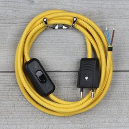 Textilkabel Anschlussleitung 2-5m gelb mit Schalter und Euro-Flachstecker
