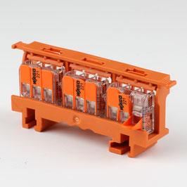 221-500 Befestigungsadapter mit 3 x 221-413 Wago Compact Verbindungsklemme
