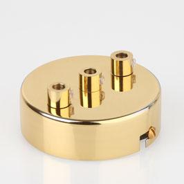 Lampen Metall Baldachin 80x25mm messing poliert für 3 Lampenpendel mit Zugentlaster aus Metall