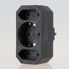 Steckdosen-Adapter schwarz 16A/250V 2 x Eurosteckdose 1 x Schutzkontakt-Steckdose