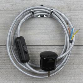 Textilkabel Anschlussleitung 2-5m silber mit Schalter u. Schutzkontakt Winkelstecker