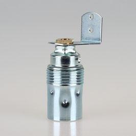 E14 Premium Metall-Fassung verchromt mit Winkel und 6-kant Trompetennippel