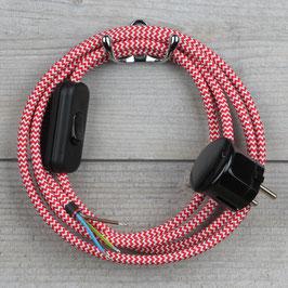 Textilkabel Anschlussleitung 2-5m rot-weiß zick-zack mit Schalter u. Schutzkontakt Winkelstecker