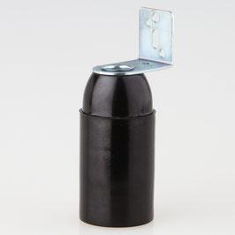 E14 Fassung Kunststoff schwarz mit Metallwinkel