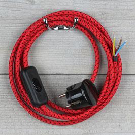 Textilkabel Anschlussleitung 2-5m rot-schwarz mit Schalter u. Schutzkontakt Winkelstecker