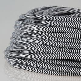 Textilkabel Stoffkabel schwarz-weiß zick-zack 3-adrig 3x0,75 Zug-Pendelleitung S03RT-F 3G0,75