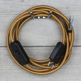 Textilkabel Anschlussleitung 2-5m gold mit Schalter und Euro-Flachstecker