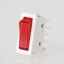 Wippschalter rot/weiß beleuchtet 1-polig 30x11 mm 250V/16A