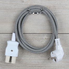 2,0m Gerätestecker Textilkabel Anschlussleitung schwarz-weiß 3x0,75mm² für alte Bügeleisen Waffeleisen Toaster