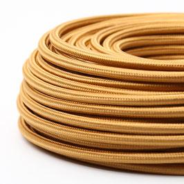 Textilkabel-Stoffkabel gold 3-adrig 3x1,0 mit Stahlseil zur Zugentlastung