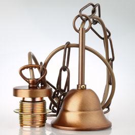 E27 Lampen Kettenpendel antik fume 1m lang mit Metall Baldachin Tulpenform