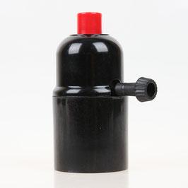 E27 Bakelit Fassung mit Drehschalter Zugentlaster Kunststoff rot