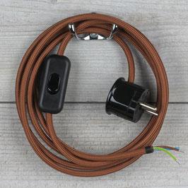Textilkabel Anschlussleitung 2-5m kupfer matt mit Schalter u. Schutzkontakt Winkelstecker